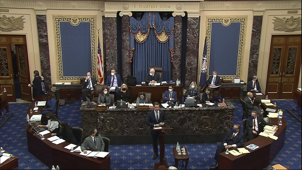 In this image from video, House impeachment manager Rep. Eric Swalwell, D-Calif., speaks during the second impeachment trial of former President Donal...