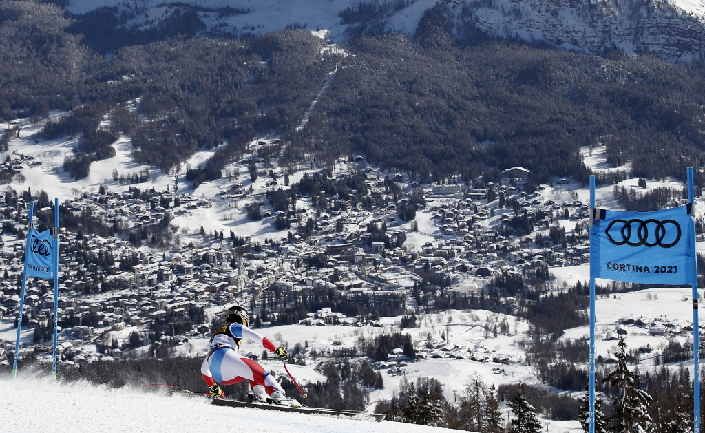 Switzerland's Lara Gut-Behrami speeds down the course during the women's super-G, at the alpine ski World Championships in Cortina d'Ampezzo, Italy, T...