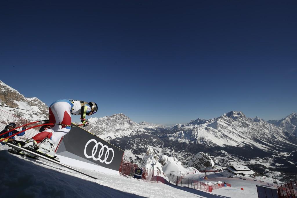 Switzerland's Lara Gut-Behrami starts a women's downhill training, at the alpine ski World Championships, in Cortina d'Ampezzo, Italy, Friday, Feb. 12...