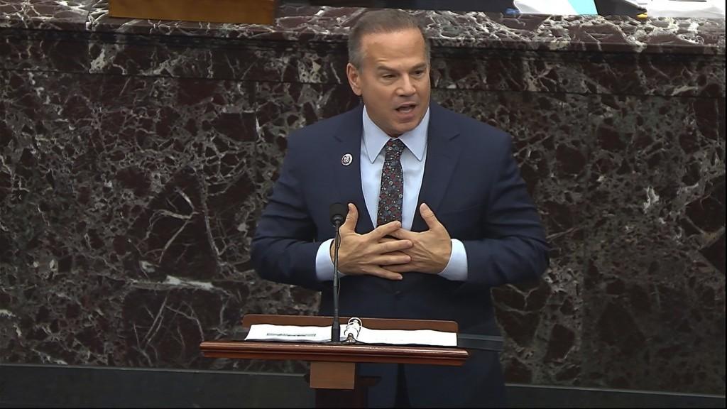 In this image from video, House impeachment manager Rep. David Cicilline, D-R.I., speaks during the second impeachment trial of former President Donal...