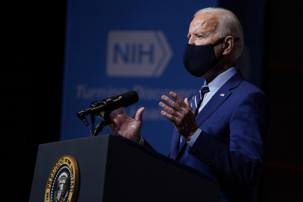 President Joe Biden speaks during a visit to the Viral Pathogenesis Laboratory at the National Institutes of Health, Thursday, Feb. 11, 2021, in Bethe...