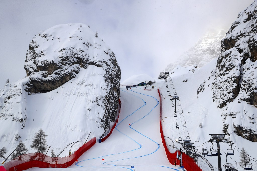 In this photo taken on Feb. 9, 2021, a view of the Tofana Schuss, in Cortina d' Ampezzo, Italy. The Tofana schuss, a chute between two huge cliffs of ...