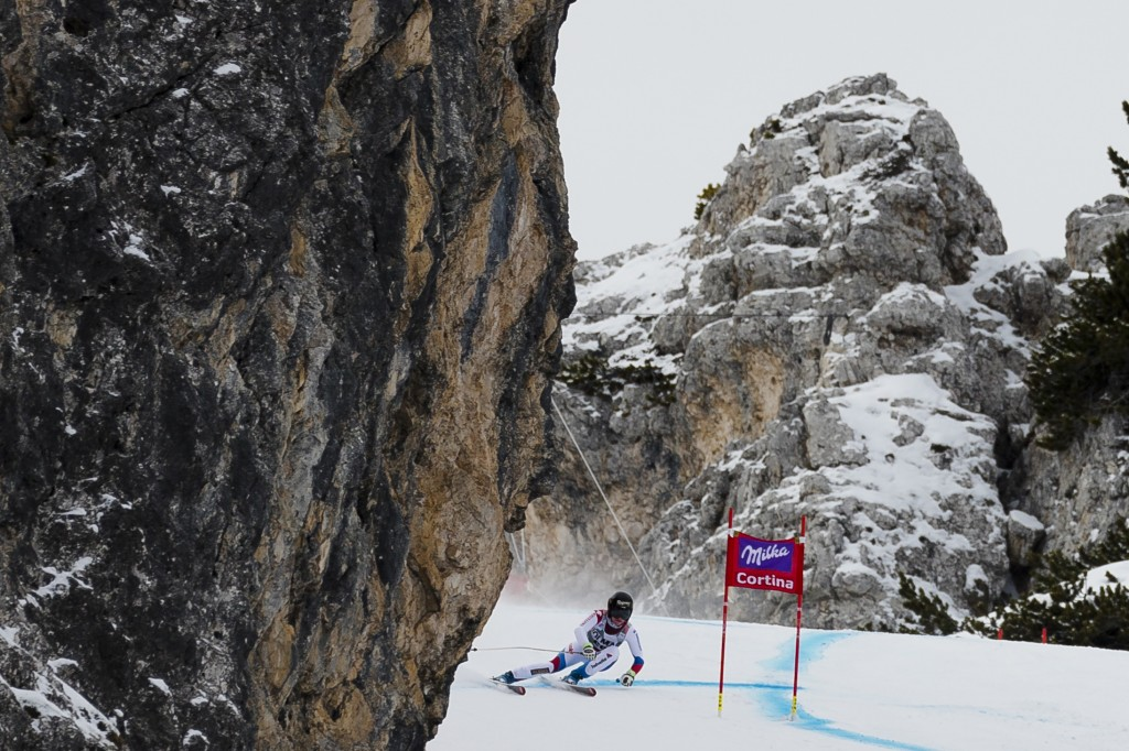 FILE - In this file photo, taken on  Jan. 15, 2015, Switzerland's Lara Gut speeds down the course during a training session of the alpine ski, women's...