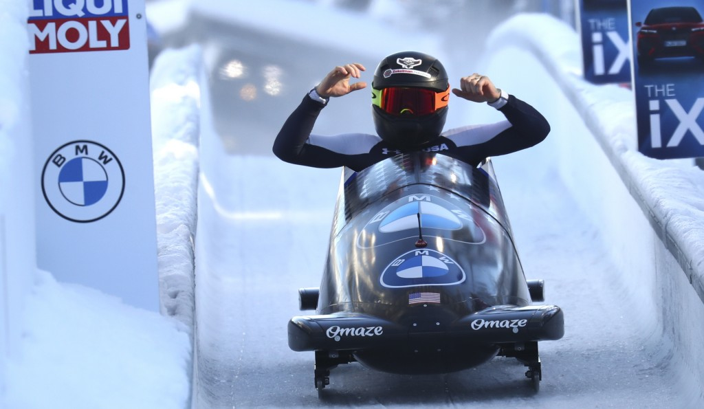 Bobsleigh pilot Kaillie Humphries of the United States reacts at the finish line after taking first place during the women's monobob race at the Bobsl...