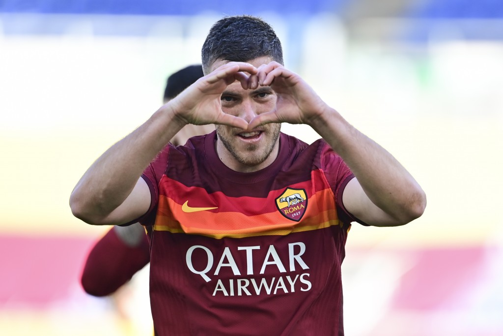 Roma's Jordan Veretout celebrates after he scored his side's second goal during a Serie A soccer match between Roma and Udinese, at Rome's Olympic sta...