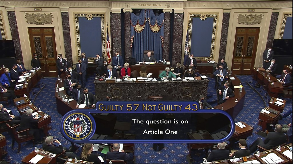In this image from video, the final vote total of 57-43, to acquit former President Donald Trump of the impeachment charge, incitement of insurrection...