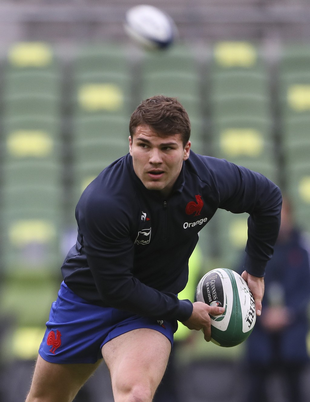 Antoine Dupont of France warms-up before the Six Nations rugby union match between Ireland and France Aviva Stadium, Dublin, Sunday, Feb. 14, 2021. (B...
