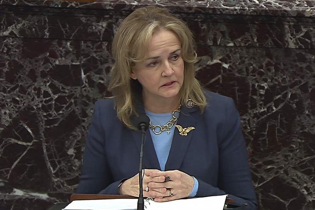 In this image from video, House impeachment manager Rep. Madeleine Dean, D-Pa., speaks during closing arguments in the second impeachment trial of for...