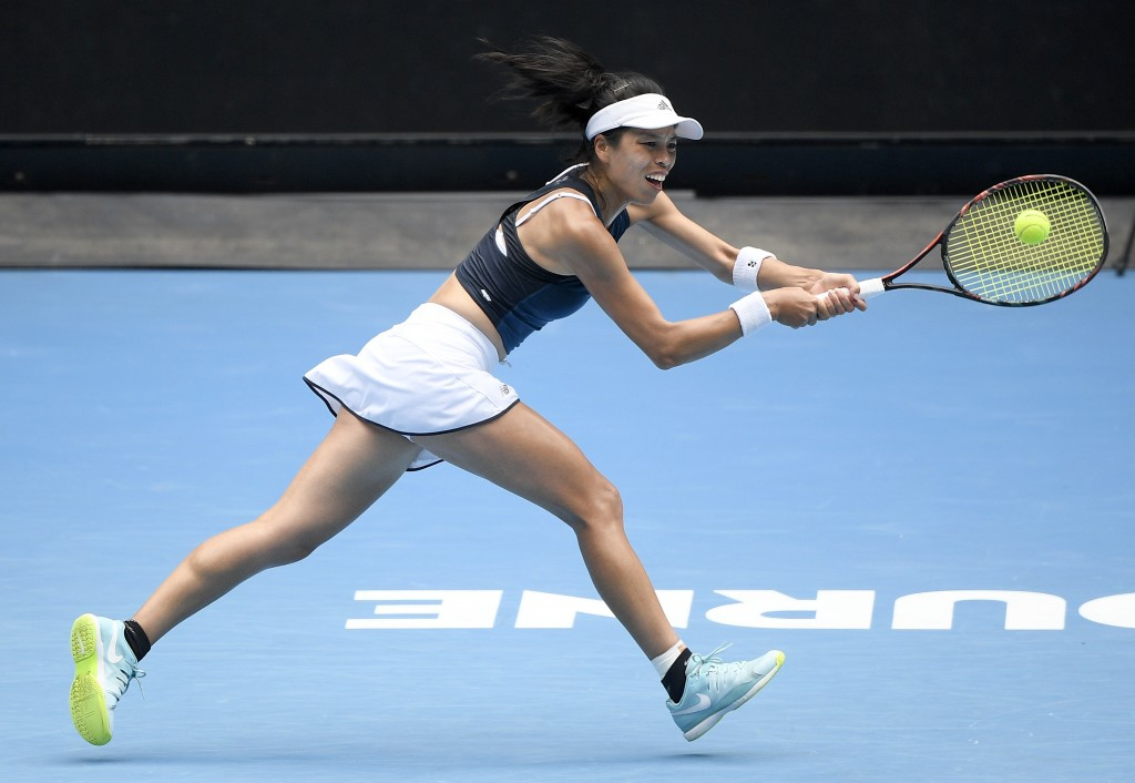 Taiwan's Hsieh Su-Wei hits a backhand to Marketa Vondrousova of the Czech Republic during their fourth round match at the Australian Open tennis champ...
