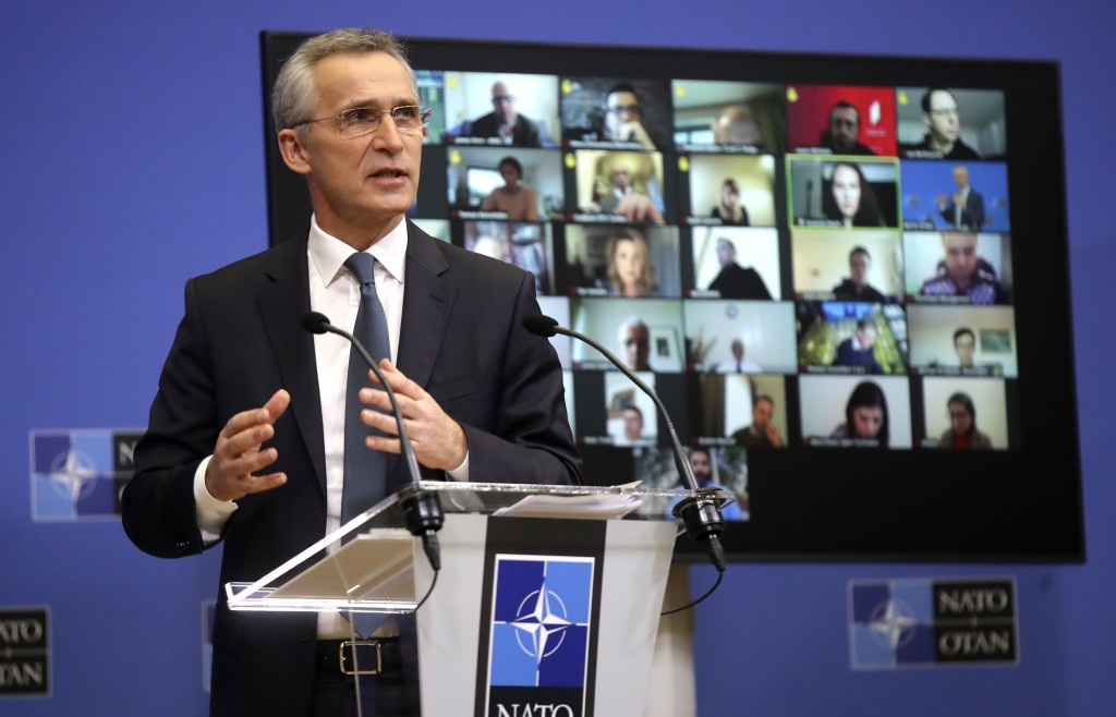 NATO Secretary General Jens Stoltenberg speaks during a media conference ahead of a NATO defense minister's meeting at NATO headquarters in Brussels, ...