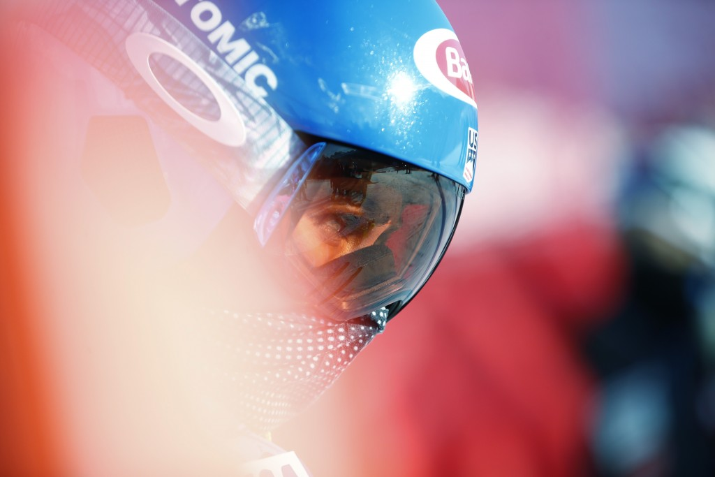United States' Mikaela Shiffrin prepares at start point during the super G portion of the women's combined race, at the alpine ski World Championships...