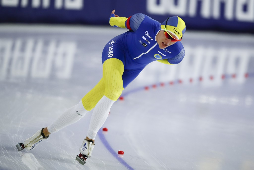Sweden's Nils van der Poel competes to set a new world record on the men's 10,000 meters race of the World Championships Speedskating Single Distance ...