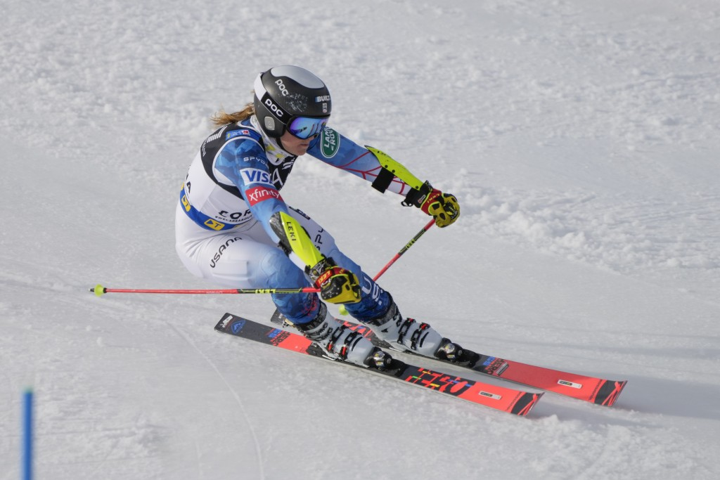 United States' Paula Moltzan competes during the parallel giant slalom, at the alpine ski World Championships in Cortina d'Ampezzo, Italy, Tuesday, Fe...