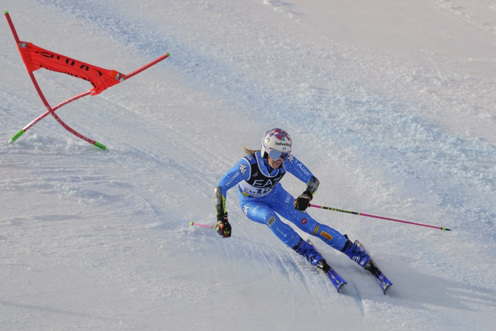 Italy's Marta Bassino competes during the parallel giant slalom, at the alpine ski World Championships in Cortina d'Ampezzo, Italy, Tuesday, Feb.16, 2...