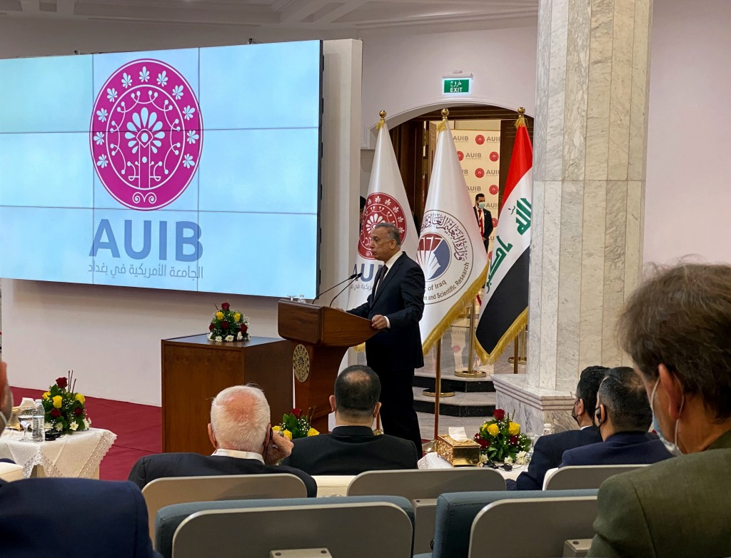 Iraqi Prime Minister Mustafa al-Kadhimi speaks during the opening ceremony of the American University in Baghdad, Iraq, Sunday, Feb. 14, 2021. (AP Pho...