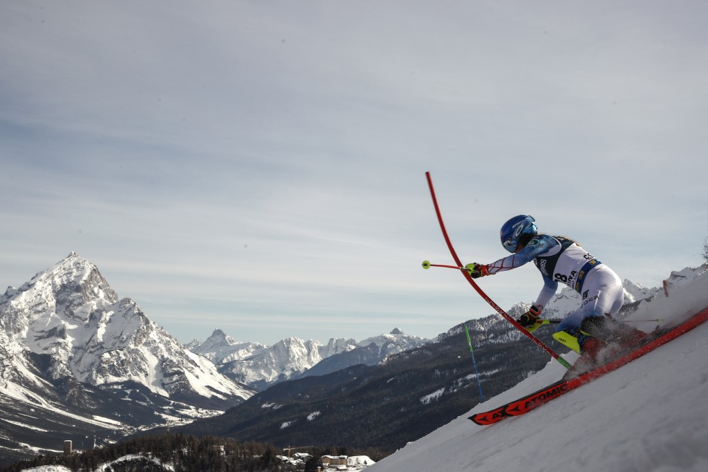 United States' Mikaela Shiffrin competes during the slalom portion of the women's combined race, at the alpine ski World Championships, in Cortina d'A...