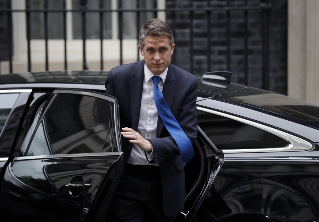 FILE - In this file photo dated Monday, Sept. 2, 2019, Britain's Education Secretary Gavin Williamson arrives for a cabinet meeting at 10 Downing Stre...