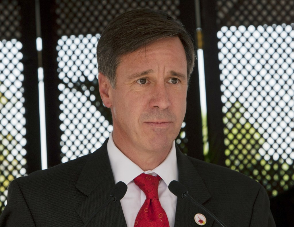 FILE - In this Dec. 19, 2012, file photo, Marriott CEO Arne Sorenson speaks during a groundbreaking ceremony for a Marriott hotel in Port-au-Prince, H...