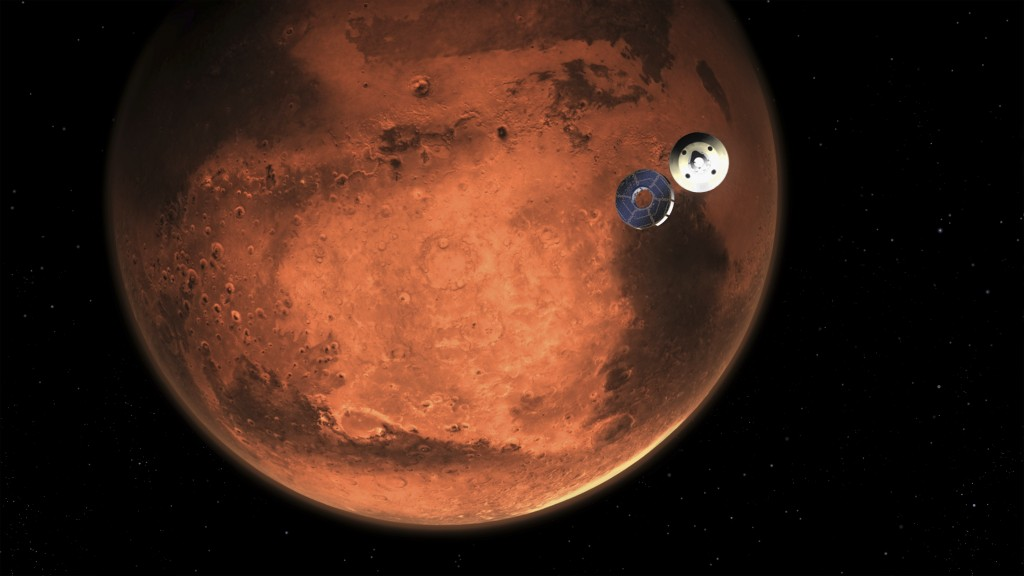 In this illustration made available by NASA, the Perseverance rover casts off its spacecraft's cruise stage, minutes before entering the Martian atmos...