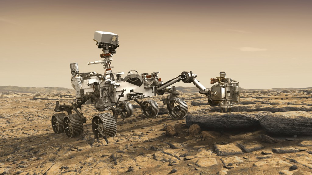 In this illustration made available by NASA, the Mars 2020 Perseverance rover studies a Mars rock outrcrop. (NASA/JPL-Caltech via AP)