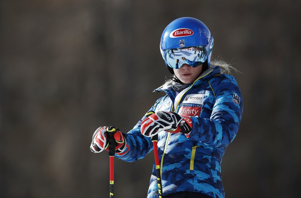 United States' Mikaela Shiffrin waits prior to the start of a women's giant slalom, at the alpine ski World Championships in Cortina d'Ampezzo, Italy,...