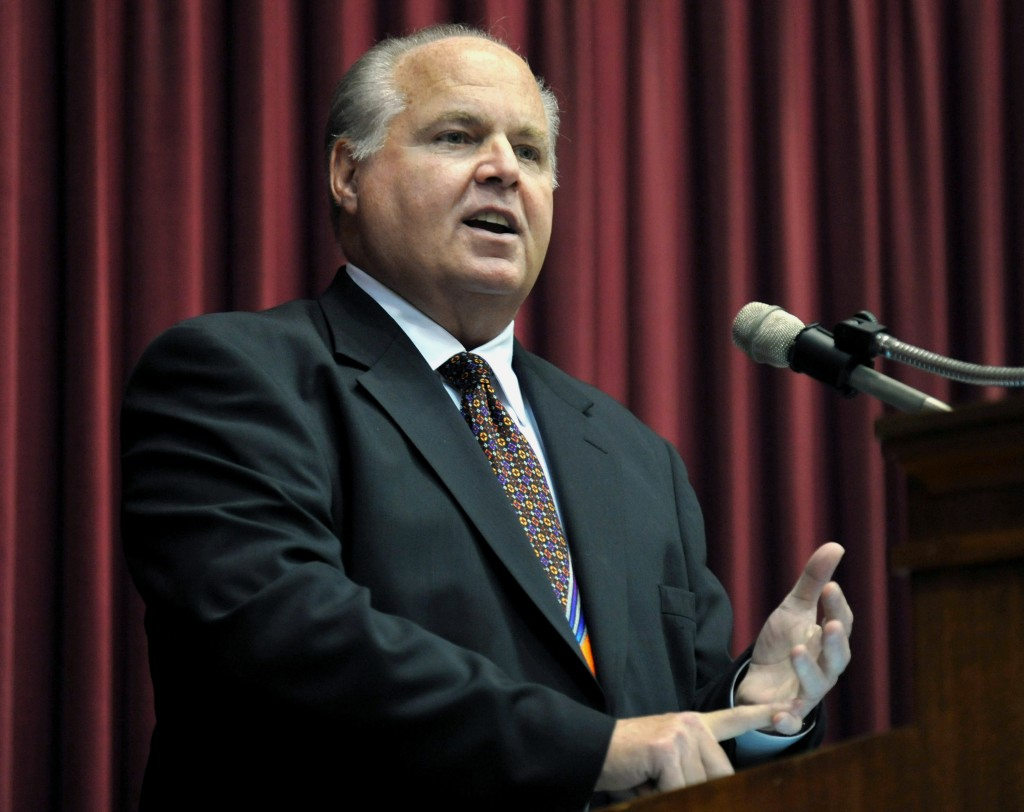 FILE - Rush Limbaugh speaks during a ceremony inducting him into the Hall of Famous Missourians on May 14, 2012, in the state Capitol in Jefferson Cit...