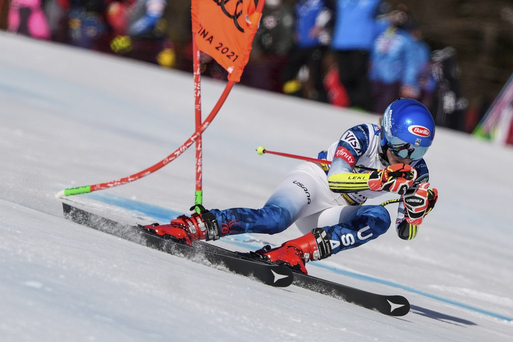 United States' Mikaela Shiffrin speeds down the course during a women's giant slalom, at the alpine ski World Championships, in Cortina d'Ampezzo, Ita...