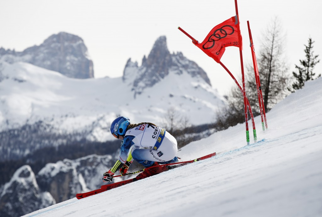 United States' Mikaela Shiffrin speeds down the course during a women's giant slalom, at the alpine ski World Championships in Cortina d'Ampezzo, Ital...