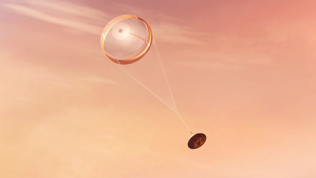In this illustration made available by NASA, the Perseverance rover deploys a supersonic parachute from its aeroshell as it slows down before landing ...