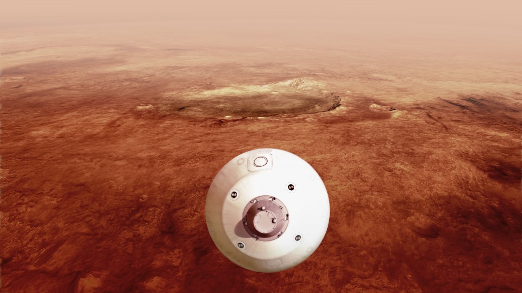 In this illustration made available by NASA, The aeroshell containing the Perseverance rover guides itself towards the Martian surface as it descends ...