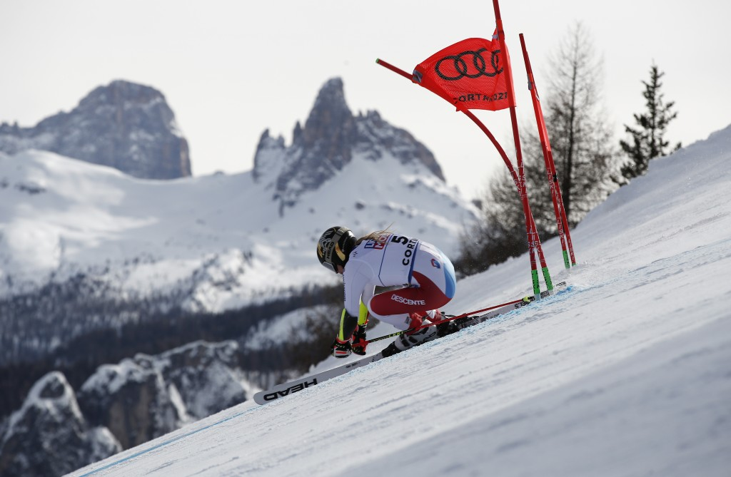 Switzerland's Lara Gut-Behrami speeds down the course during a women's giant slalom, at the alpine ski World Championships in Cortina d'Ampezzo, Italy...