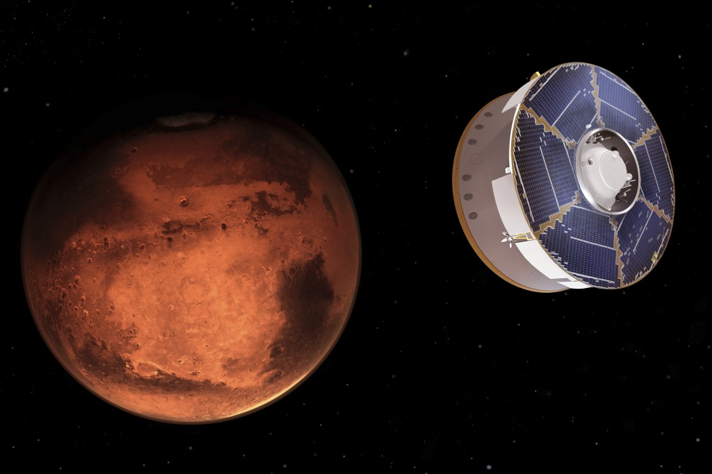 This illustration provided by NASA depicts the Mars 2020 spacecraft carrying the Perseverance rover as it approaches Mars. Perseverance's $3 billion m...