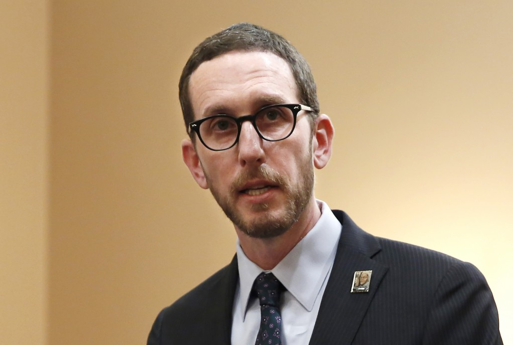 FILE - In this Jan. 21, 2020, file photo, state Sen. Scott Wiener, D-San Francisco, speaks at a news conference in Sacramento, Calif. Last year, Calif...