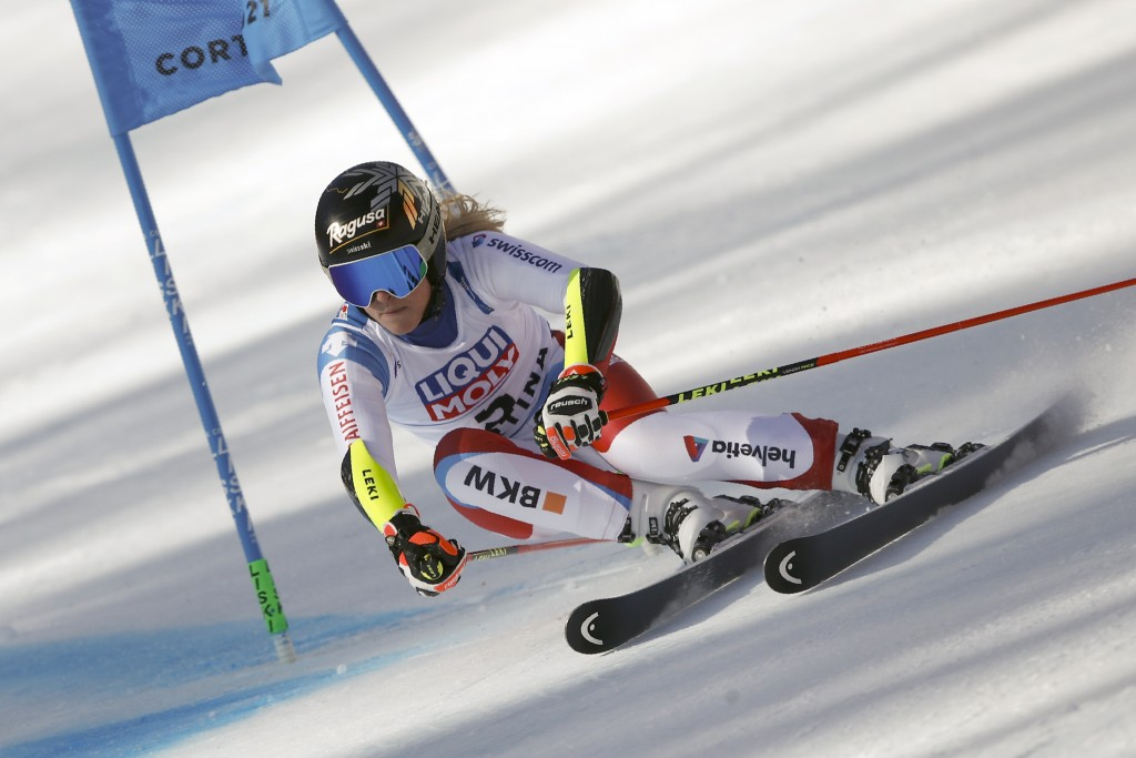 Switzerland's Lara Gut-Behrami speeds down the course on her way to win a women's giant slalom, at the alpine ski World Championships, in Cortina d'Am...