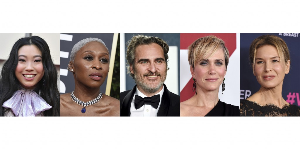 This combination photo shows, from left, Awkwafina, Cynthia Erivo, Joaquin Phoenix, Kristen Wiig and Renee Zellweger, who are among the first presente...