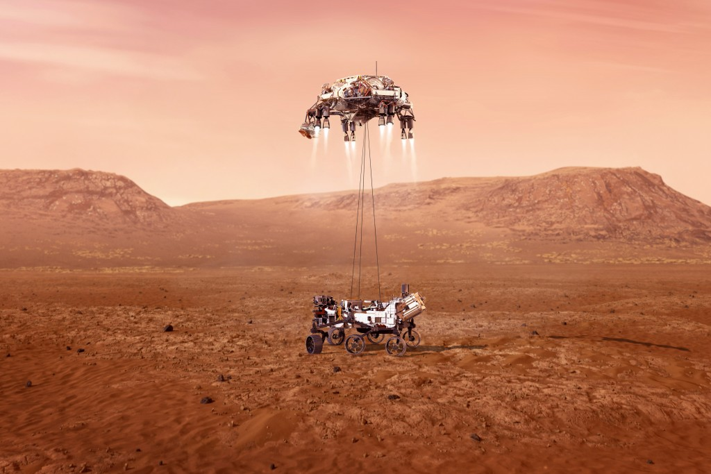 This illustration provided by NASA shows the Perseverance rover, bottom, landing on Mars. Hundreds of critical events must execute perfectly and exact...
