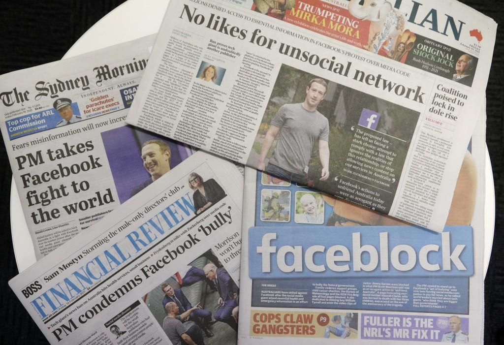 2021年2月19日澳洲紙媒紛以頭版刊出方式譴責臉書為富不仁。(美聯社圖片)