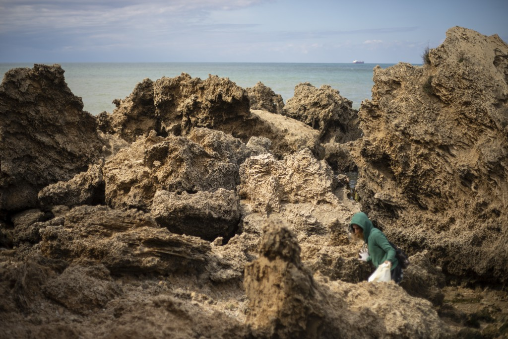 A woman cleans rocks covered in tar from an oil spill in the Mediterranean sea in Gador nature reserve near Hadera, Israel, Saturday, Feb. 20, 2021. H...