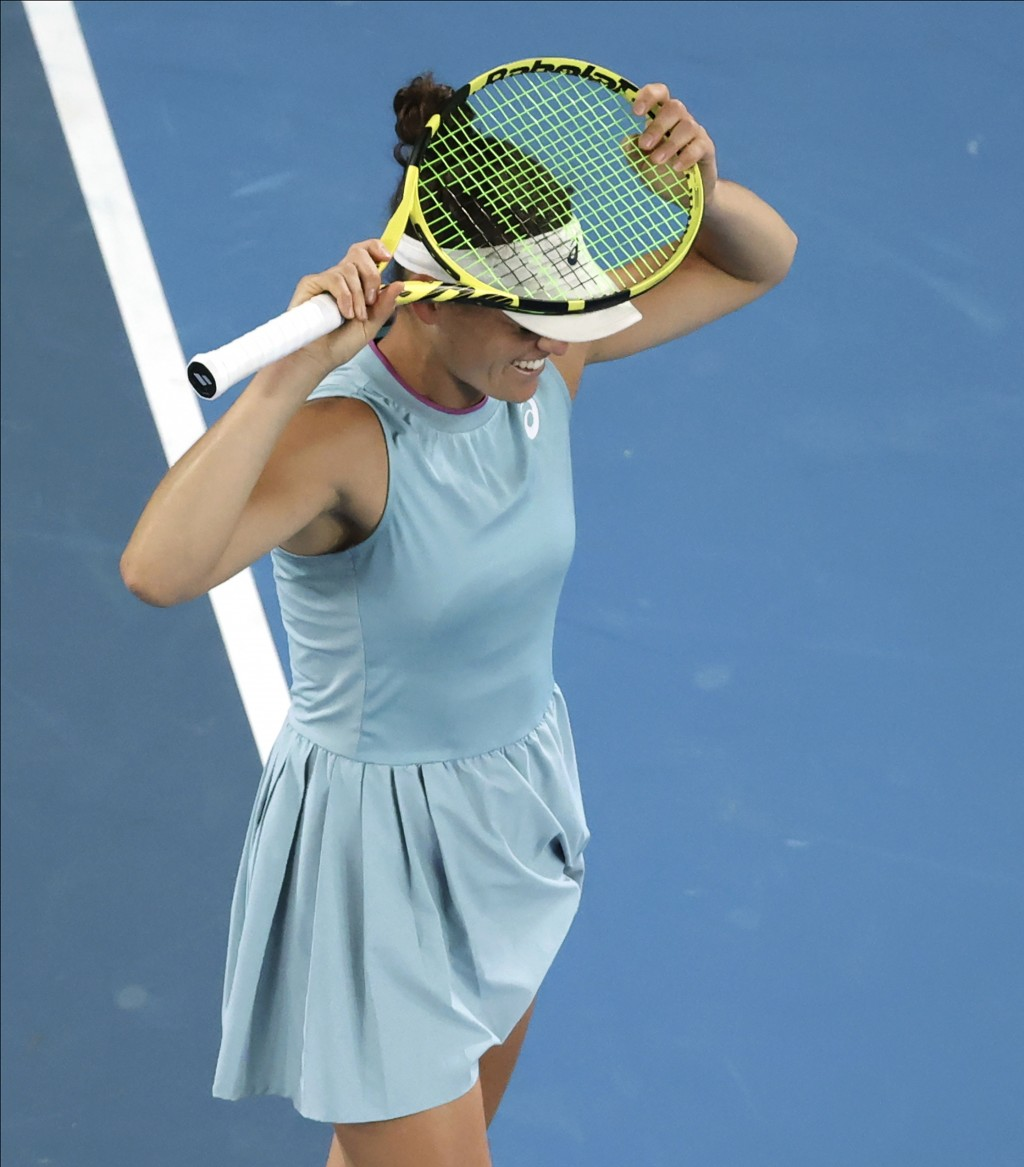 United States' Jennifer Brady reacts after losing a point to Japan's Naomi Osaka during the women's singles final at the Australian Open tennis champi...
