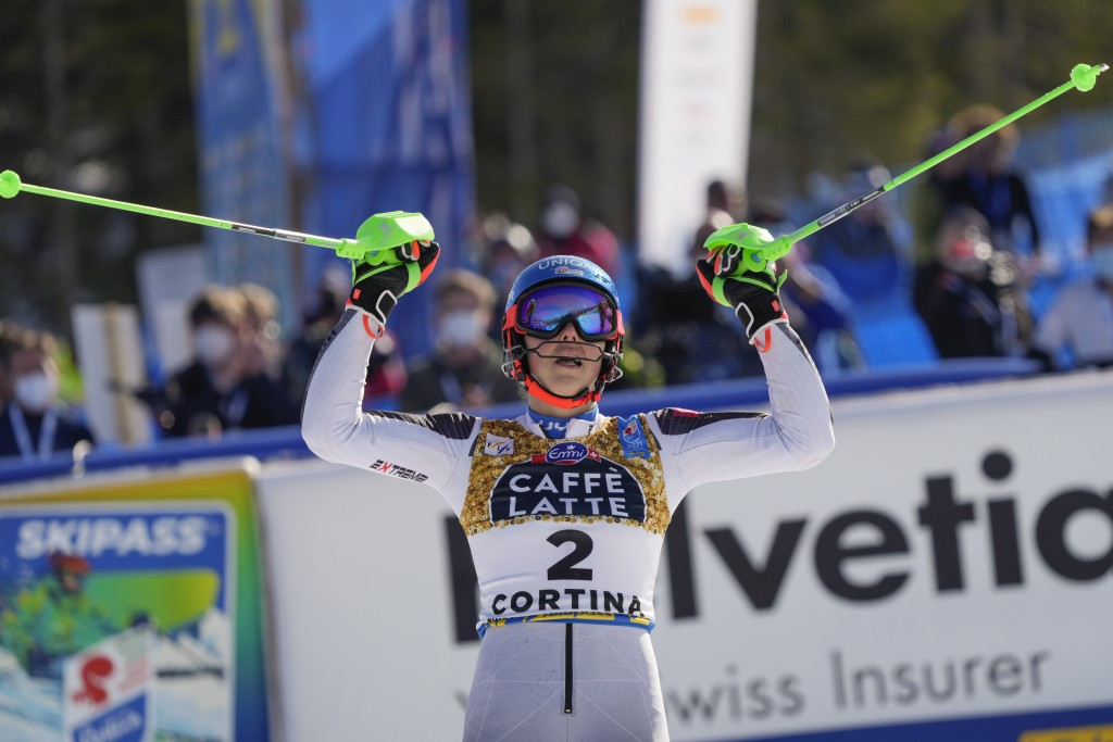 Slovakia's Petra Vlhova celebrates after winning the silver medal in the women's slalom, at the alpine ski World Championships in Cortina d'Ampezzo, I...