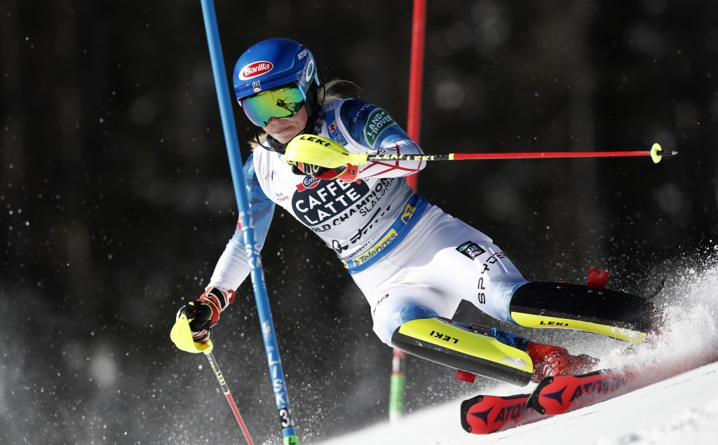 United States' Mikaela Shiffrin competes during a women's slalom, at the alpine ski World Championships in Cortina d'Ampezzo, Italy, Saturday, Feb. 20...
