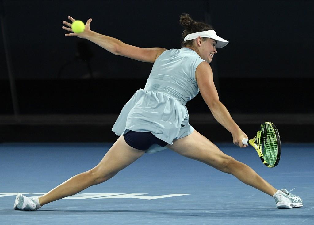 United States' Jennifer Brady hits a return to Japan's Naomi Osaka during the women's singles final at the Australian Open tennis championship in Melb...