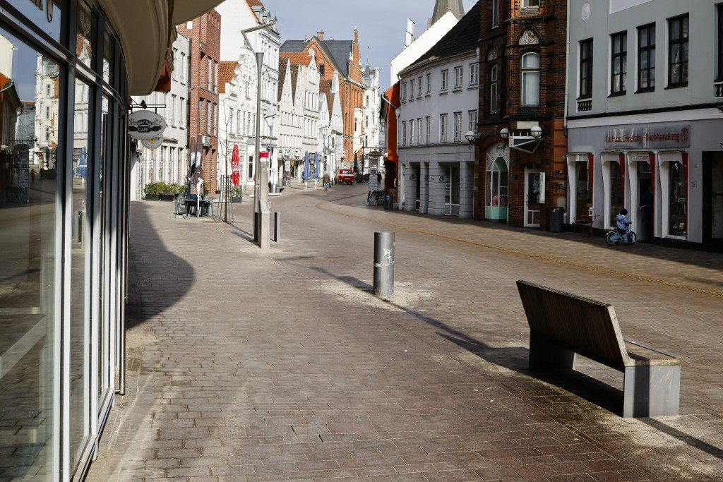 A street is deserted in the city center of Flensburg, Germany, Saturday, Feb. 20, 2021. Because of the high number of coronavirus infections in this n...