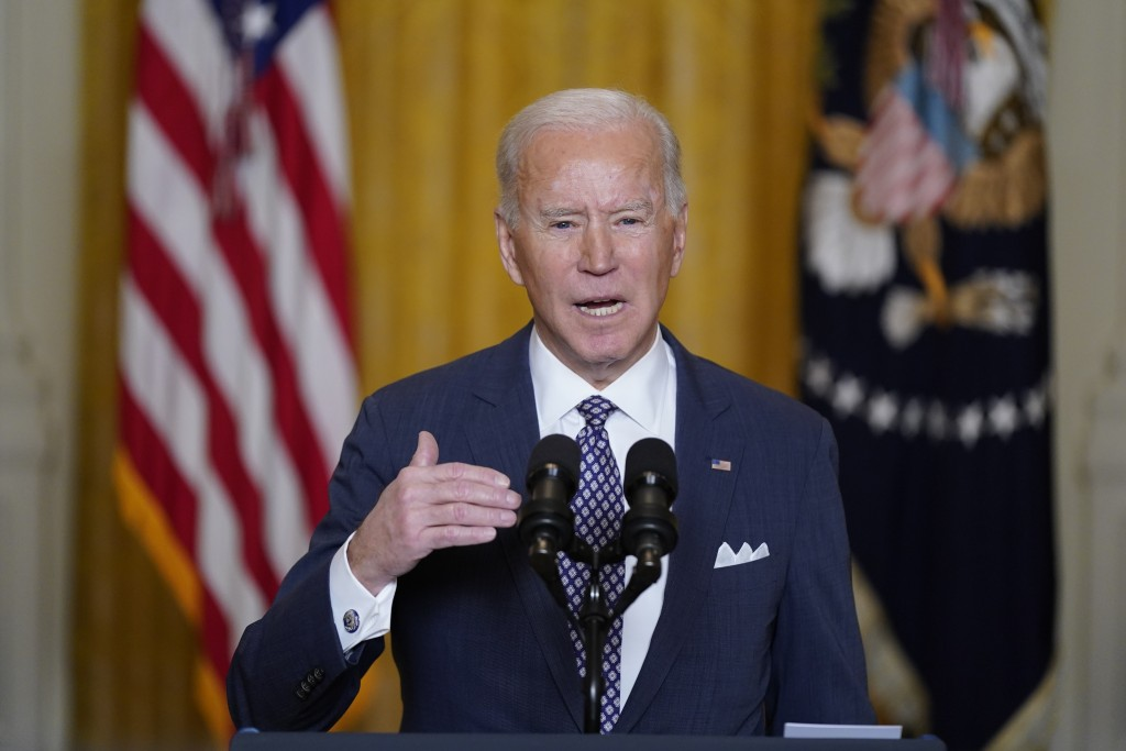 President Joe Biden speaks during a virtual event with the Munich Security Conference in the East Room of the White House, Friday, Feb. 19, 2021, in W...