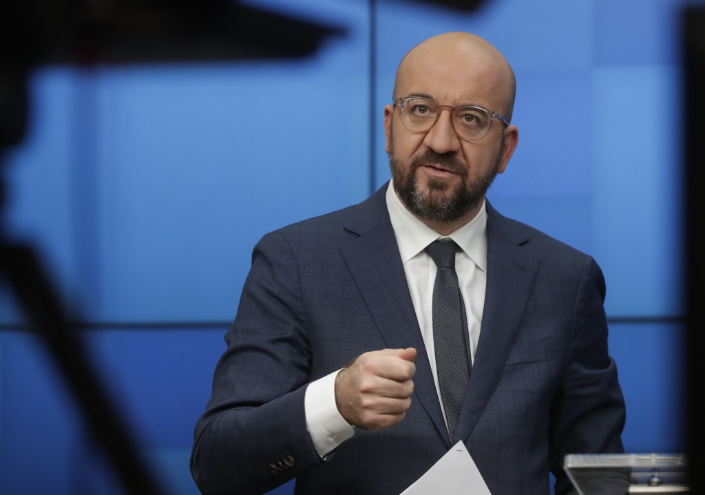 European Council President Charles Michel takes part in the online Munich Security Conference from the European Council building in Brussels, Friday, ...