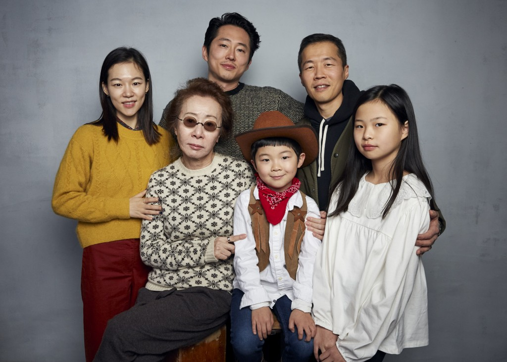 FILE- Han Yeri, back row from left, Steven Yeun, director Lee Isaac Chung, and foreground from left, Yuh Jung Youn, Alan Kim, and Noel Cho pose for a ...