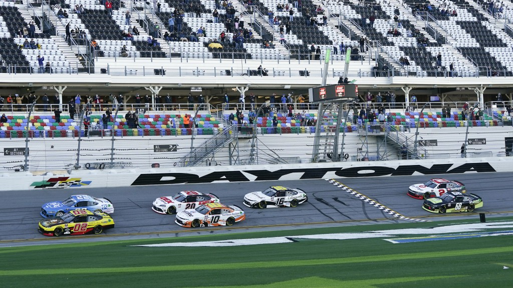 Brett Moffitt (02) and Austin Cindric (22) lead the field to start the NASCAR Xfinity Series road course auto race at Daytona International Speedway, ...