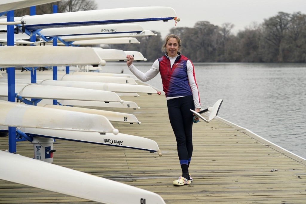 Rower Gevvie Stone poses for a photo at Lady Bird Lake ahead of the upcoming U.S. Olympic rowing trials, Friday, Feb. 12, 2021, in Austin, Texas. The ...