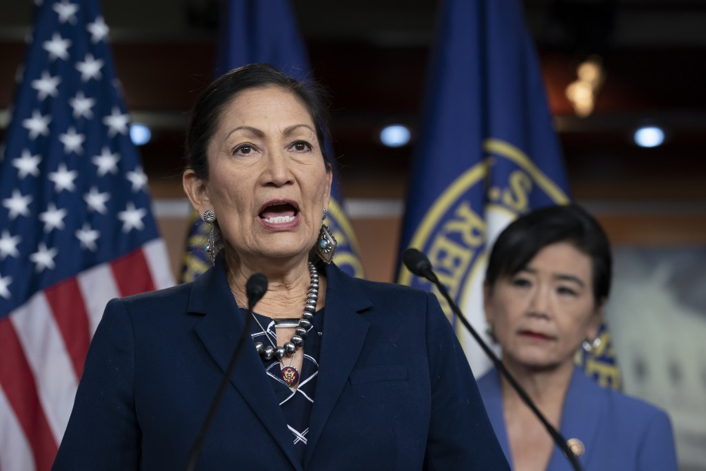 FILE - In this March 5, 2020, file photo Rep. Deb Haaland, D-N.M., Native American Caucus co-chair, joined at right by Rep. Judy Chu, D-Calif., chair ...