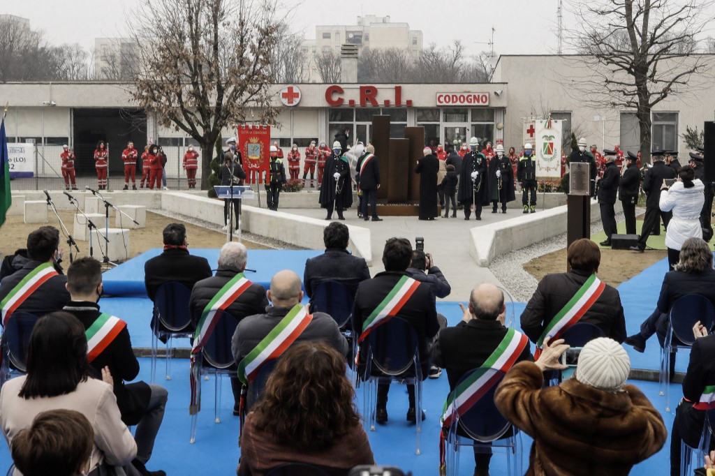 Authorities unveil a memorial for Covid deaths, in Codogno, northern Italy, Sunday, Feb. 21, 2021. The first case of locally spread COVID-19 in Europe...